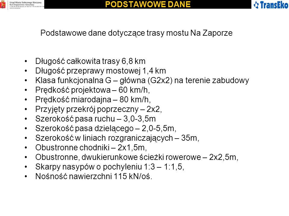 PODSTAWOWE DANEPodstawowe dane dotyczące trasy mostu Na Zaporze. Długość całkowita trasy 6,8 km. Długość przeprawy mostowej 1,4 km.