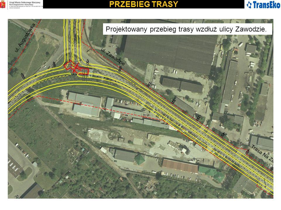 PRZEBIEG TRASY Projektowany przebieg trasy wzdłuż ulicy Zawodzie.