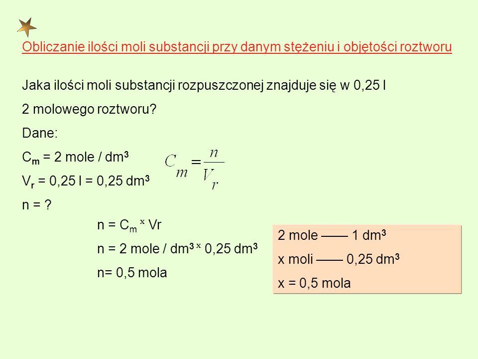 Obliczanie ilości moli substancji przy danym stężeniu i objętości roztworu