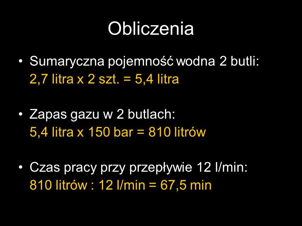Obliczenia Sumaryczna pojemność wodna 2 butli: