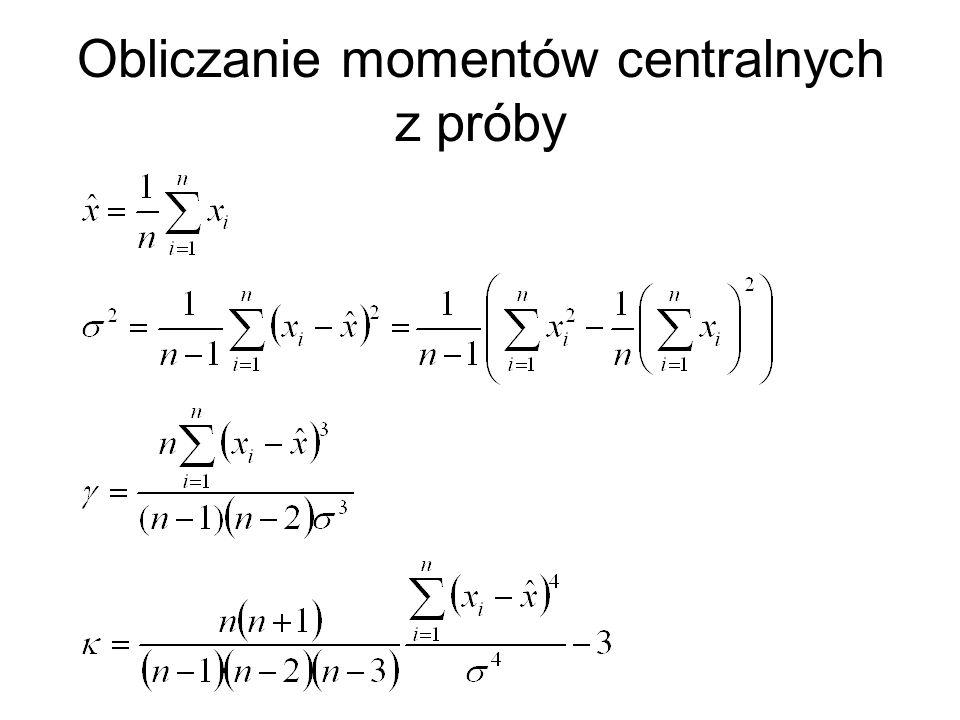 Obliczanie momentów centralnych z próby