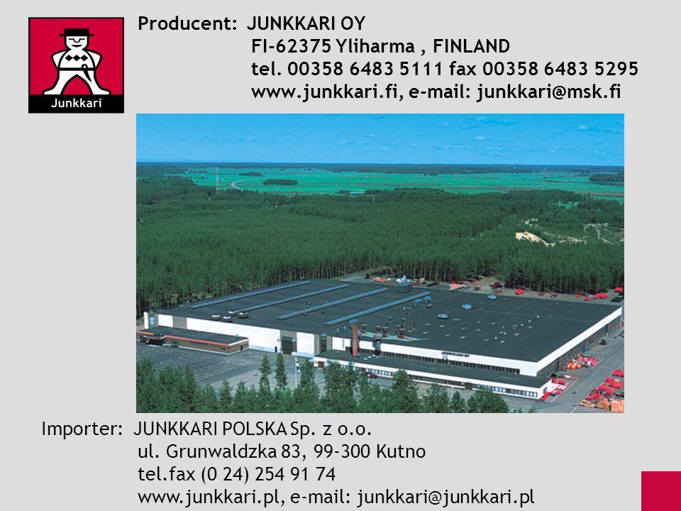 Producent: JUNKKARI OY. FI-62375 Yliharma , FINLAND. tel
