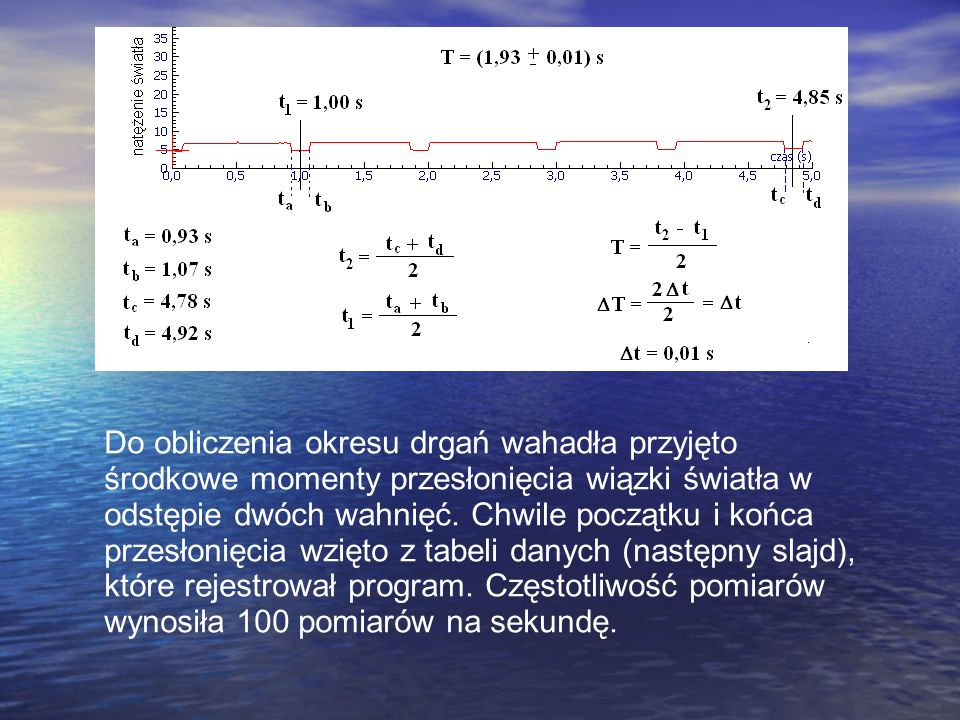 Do obliczenia okresu drgań wahadła przyjęto środkowe momenty przesłonięcia wiązki światła w odstępie dwóch wahnięć.