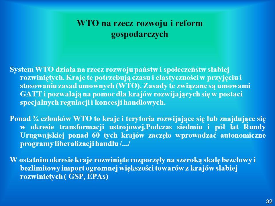 WTO na rzecz rozwoju i reform gospodarczych