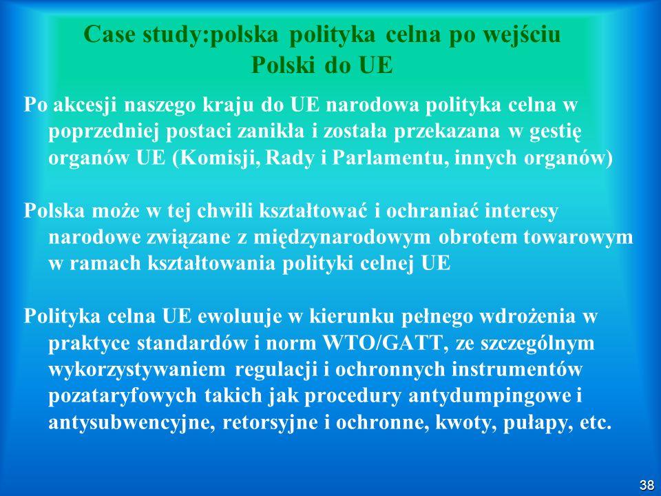 Case study:polska polityka celna po wejściu Polski do UE