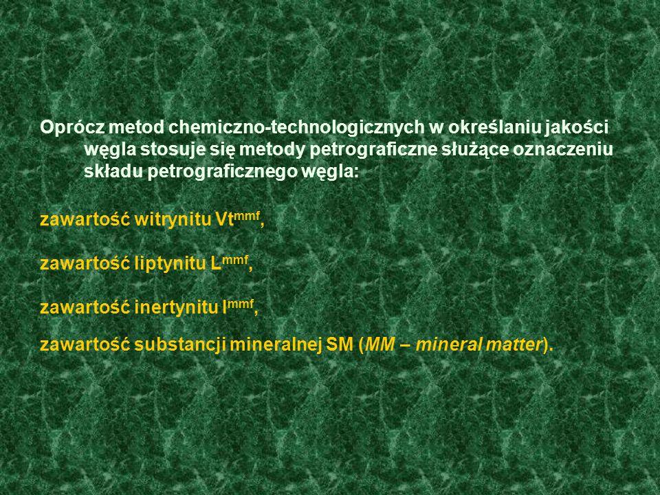 Oprócz metod chemiczno-technologicznych w określaniu jakości węgla stosuje się metody petrograficzne służące oznaczeniu składu petrograficznego węgla:
