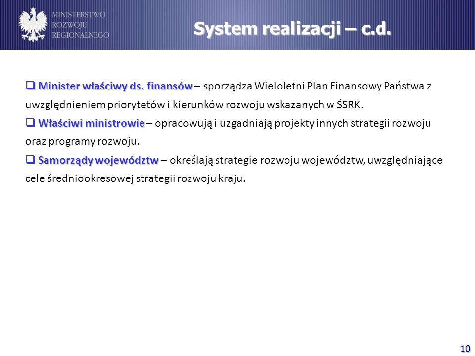 System realizacji – c.d.