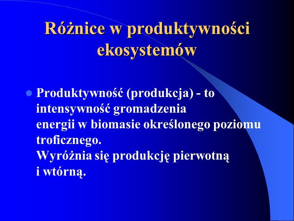 Różnice w produktywności ekosystemów