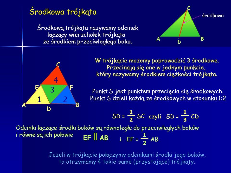 Środkowa trójkąta 4 1 3 2 EF AB Środkową trójkąta nazywamy odcinek