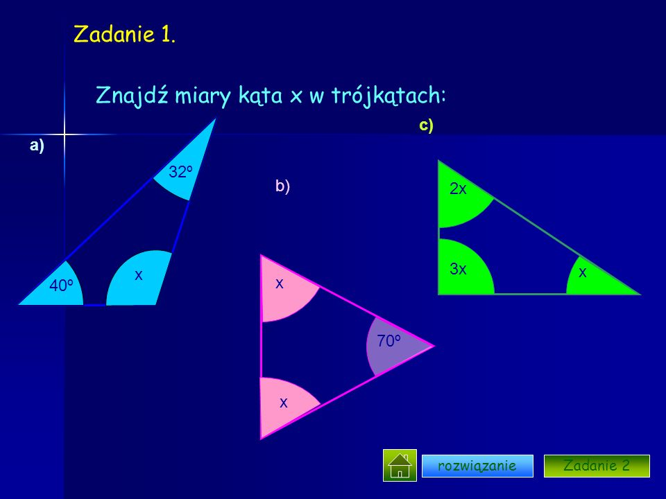 Znajdź miary kąta x w trójkątach: