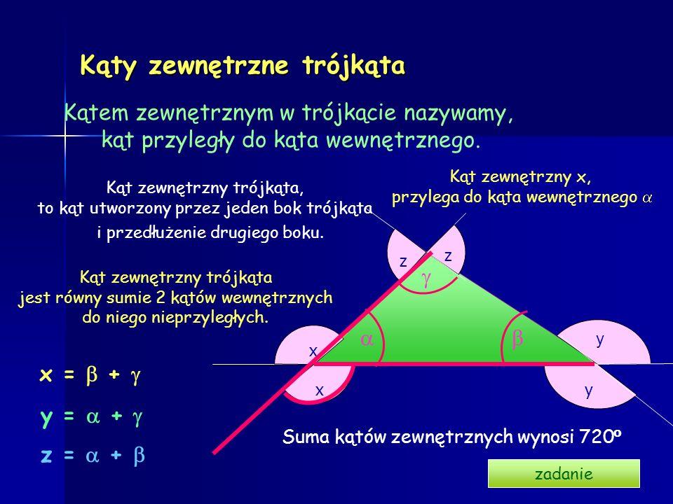 Kąty zewnętrzne trójkąta