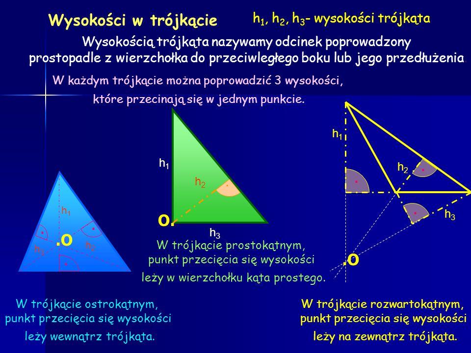 Wysokości w trójkącie . O. . .O .O h1, h2, h3- wysokości trójkąta