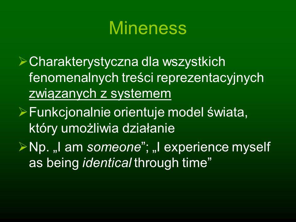 Mineness Charakterystyczna dla wszystkich fenomenalnych treści reprezentacyjnych związanych z systemem.