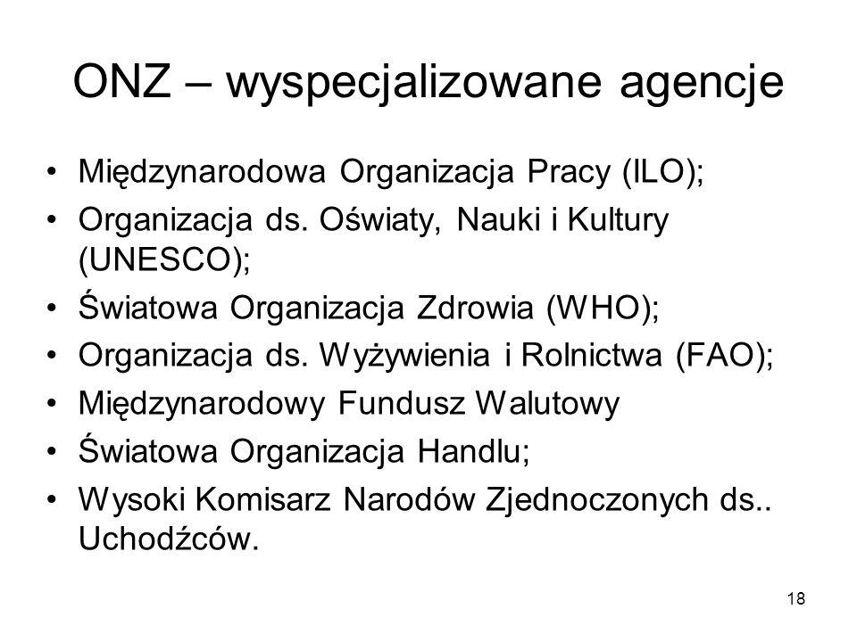 ONZ – wyspecjalizowane agencje