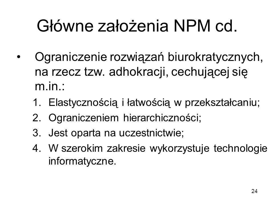 Główne założenia NPM cd.