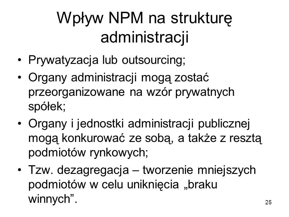 Wpływ NPM na strukturę administracji