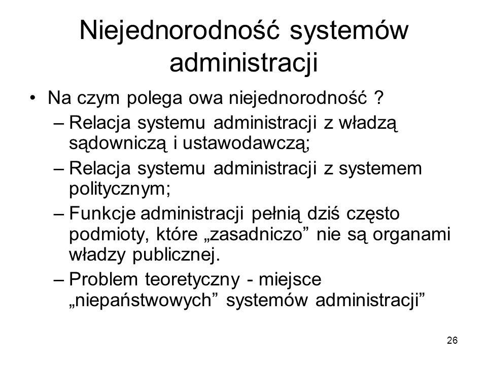 Niejednorodność systemów administracji