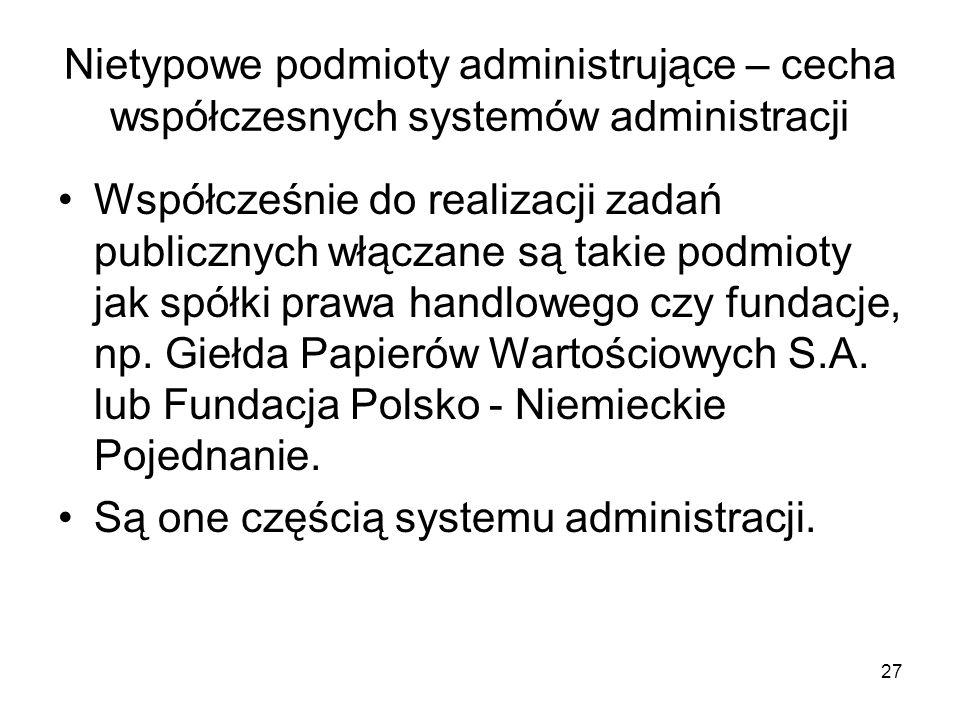 Nietypowe podmioty administrujące – cecha współczesnych systemów administracji