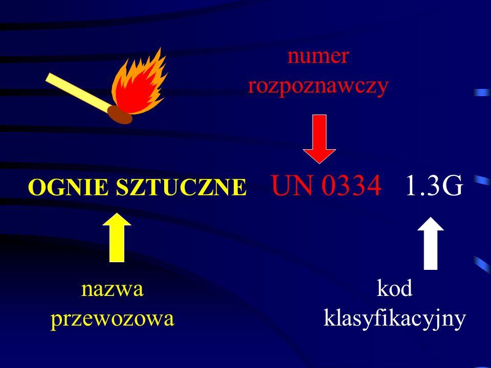 numer rozpoznawczy OGNIE SZTUCZNE UN 0334 1.3G nazwa przewozowa kod klasyfikacyjny