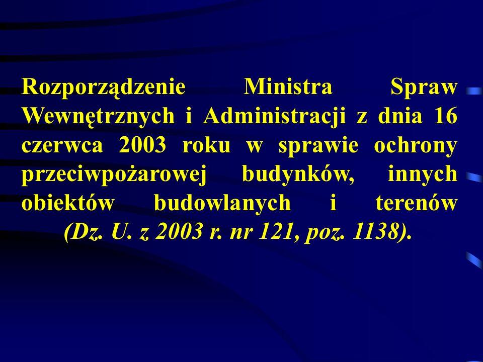 Rozporządzenie Ministra Spraw Wewnętrznych i Administracji z dnia 16 czerwca 2003 roku w sprawie ochrony przeciwpożarowej budynków, innych obiektów budowlanych i terenów (Dz.