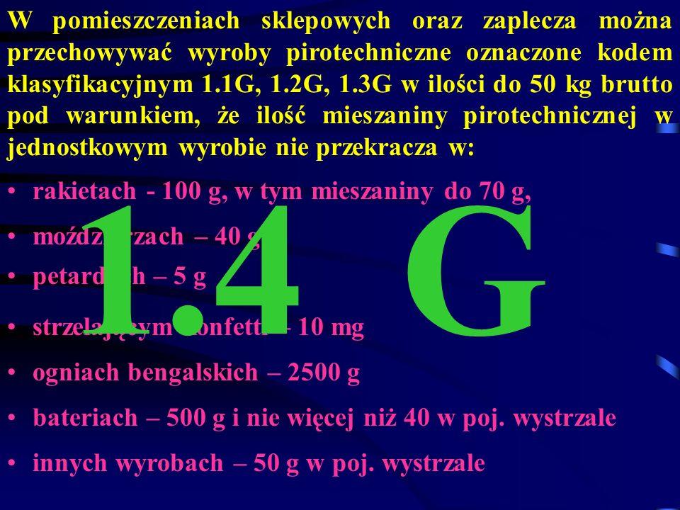 W pomieszczeniach sklepowych oraz zaplecza można przechowywać wyroby pirotechniczne oznaczone kodem klasyfikacyjnym 1.1G, 1.2G, 1.3G w ilości do 50 kg brutto pod warunkiem, że ilość mieszaniny pirotechnicznej w jednostkowym wyrobie nie przekracza w: