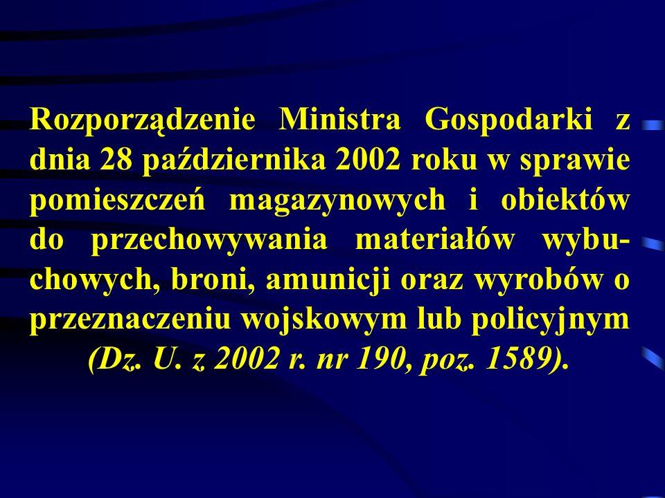 Rozporządzenie Ministra Gospodarki z dnia 28 października 2002 roku w sprawie pomieszczeń magazynowych i obiektów do przechowywania materiałów wybu- chowych, broni, amunicji oraz wyrobów o przeznaczeniu wojskowym lub policyjnym (Dz.