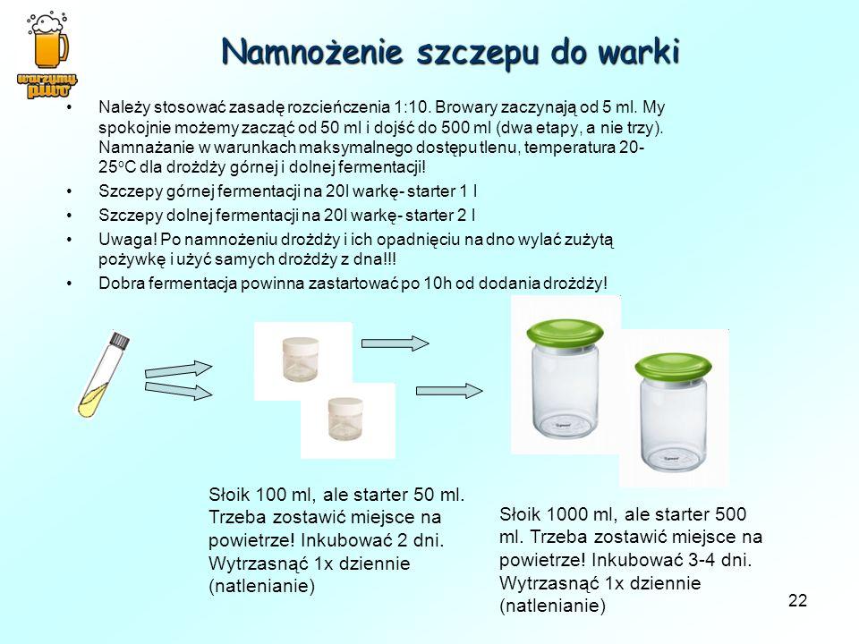 Namnożenie szczepu do warki