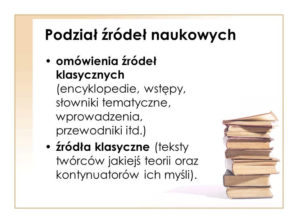 Podział źródeł naukowych