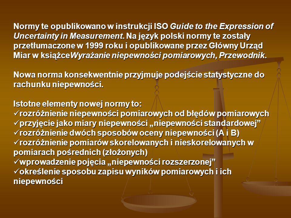 Normy te opublikowano w instrukcji ISO Guide to the Expression of Uncertainty in Measurement. Na język polski normy te zostały przetłumaczone w 1999 roku i opublikowane przez Główny Urząd Miar w książceWyrażanie niepewności pomiarowych, Przewodnik.