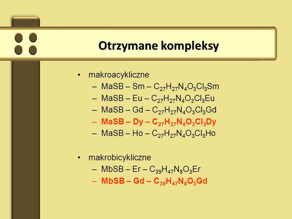 Otrzymane kompleksy makroacykliczne MaSB – Sm – C27H27N4O3Cl3Sm