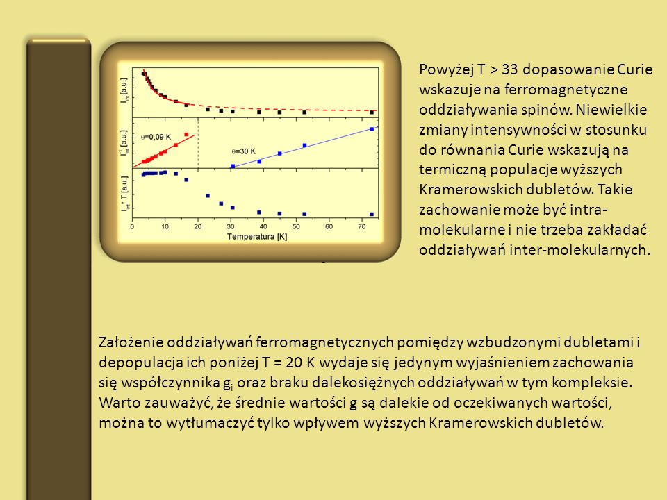 Powyżej T > 33 dopasowanie Curie wskazuje na ferromagnetyczne oddziaływania spinów. Niewielkie zmiany intensywności w stosunku do równania Curie wskazują na termiczną populacje wyższych Kramerowskich dubletów. Takie zachowanie może być intra-molekularne i nie trzeba zakładać oddziaływań inter-molekularnych.