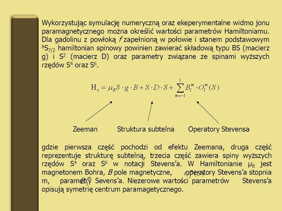 Wykorzystując symulację numeryczną oraz ekeperymentalne widmo jonu paramagnetycznego można określić wartości parametrów Hamiltoniamu. Dla gadolinu z powłoką f zapełnioną w połowie i stanem podstawowym 8S7/2 hamiltonian spinowy powinien zawierać składową typu BS (macierz g) i S2 (macierz D) oraz parametry związane ze spinami wyższych rzędów S4 oraz S6.