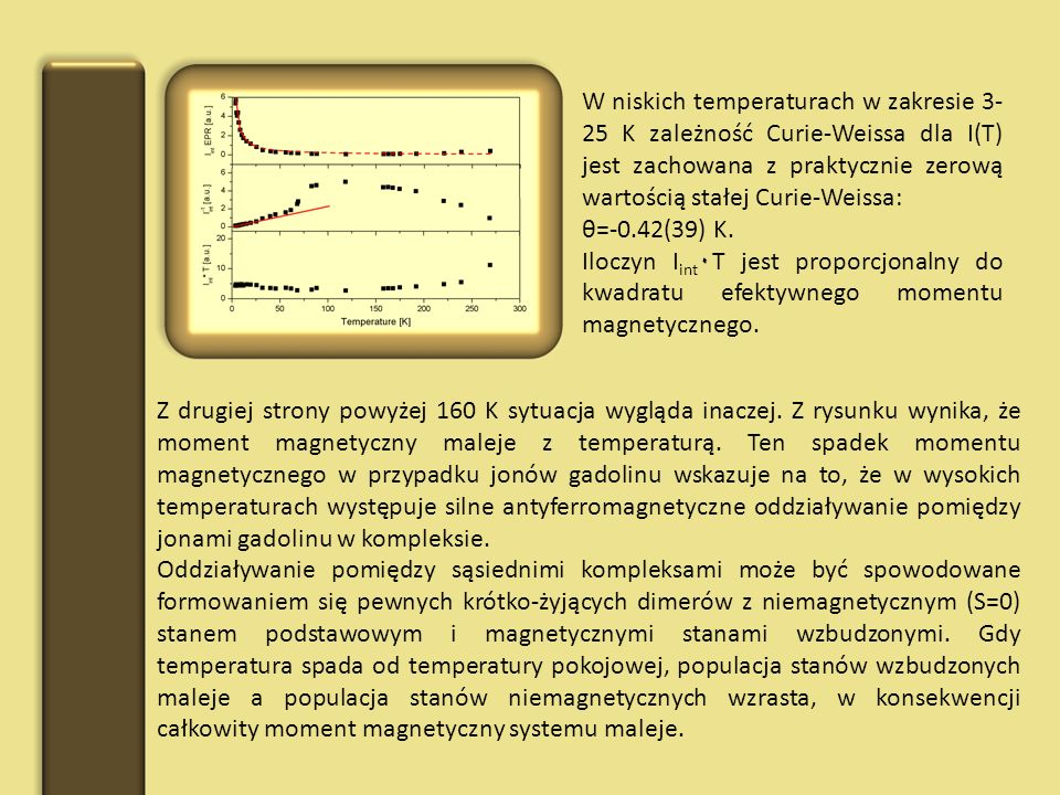 W niskich temperaturach w zakresie 3-25 K zależność Curie-Weissa dla I(T) jest zachowana z praktycznie zerową wartością stałej Curie-Weissa: