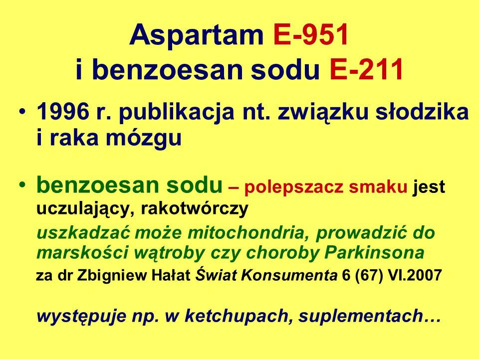 Aspartam E-951 i benzoesan sodu E-211