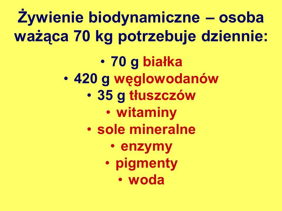 Żywienie biodynamiczne – osoba ważąca 70 kg potrzebuje dziennie: