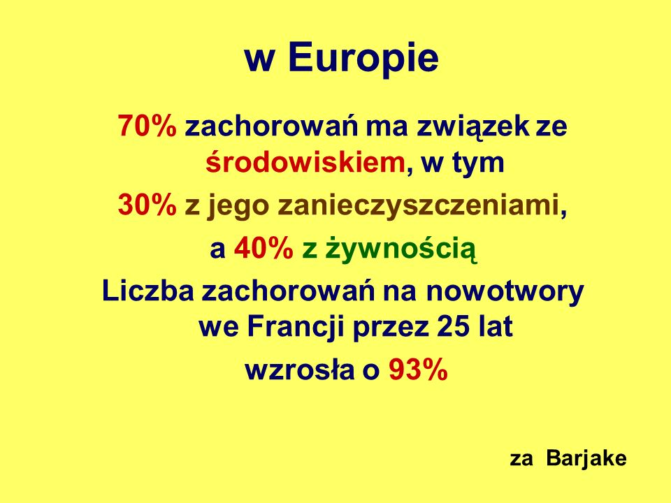 w Europie 70% zachorowań ma związek ze środowiskiem, w tym