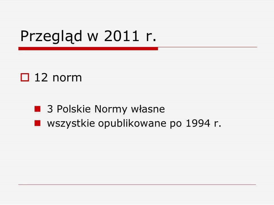 Przegląd w 2011 r. 12 norm 3 Polskie Normy własne