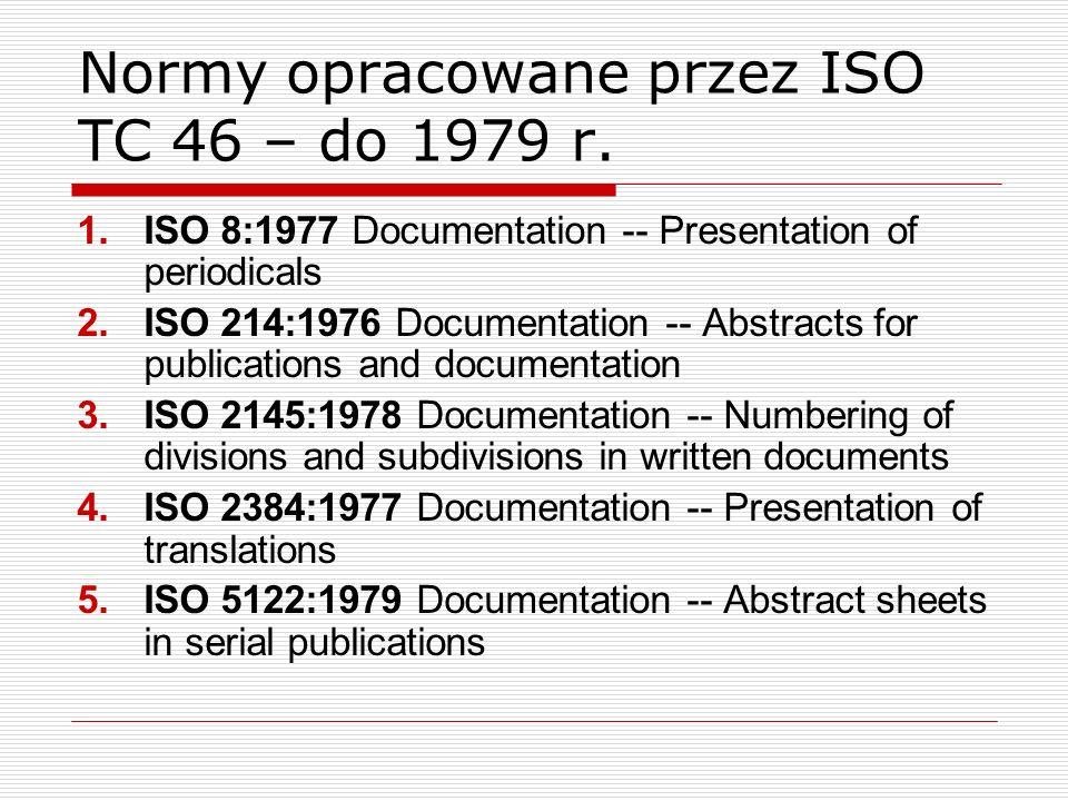 Normy opracowane przez ISO TC 46 – do 1979 r.