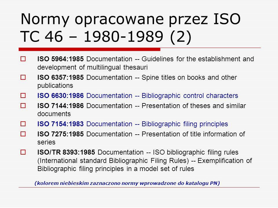 Normy opracowane przez ISO TC 46 – 1980-1989 (2)