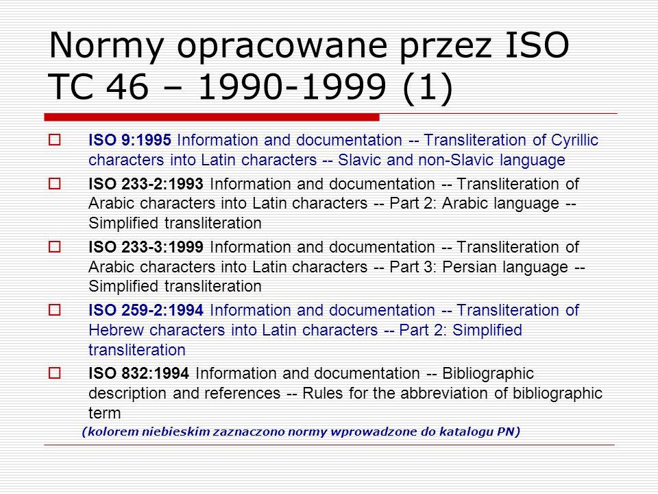 Normy opracowane przez ISO TC 46 – 1990-1999 (1)