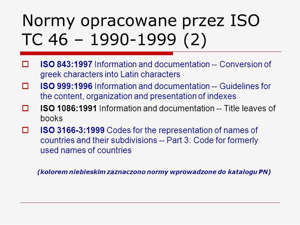 Normy opracowane przez ISO TC 46 – 1990-1999 (2)