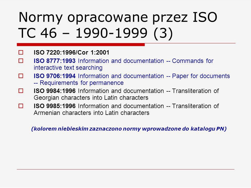Normy opracowane przez ISO TC 46 – 1990-1999 (3)