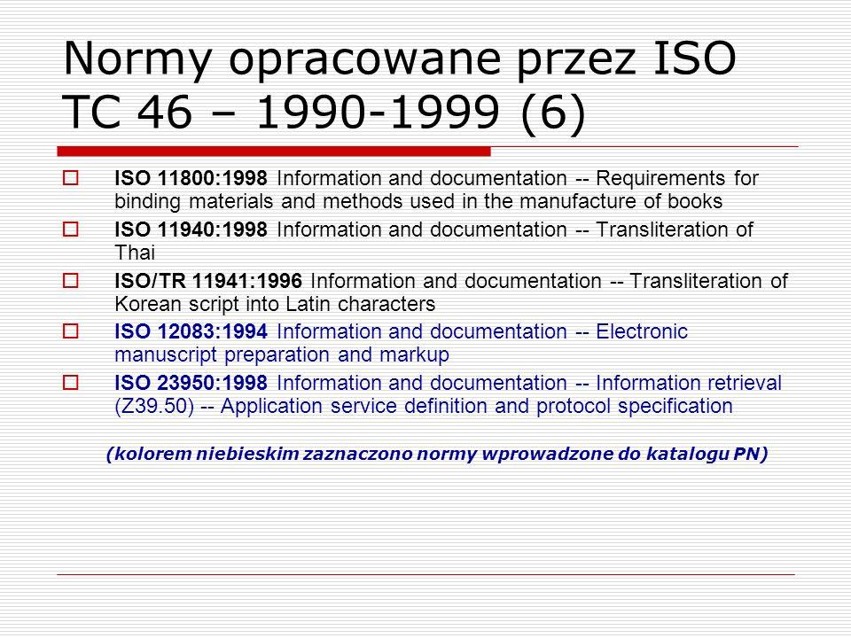 Normy opracowane przez ISO TC 46 – 1990-1999 (6)