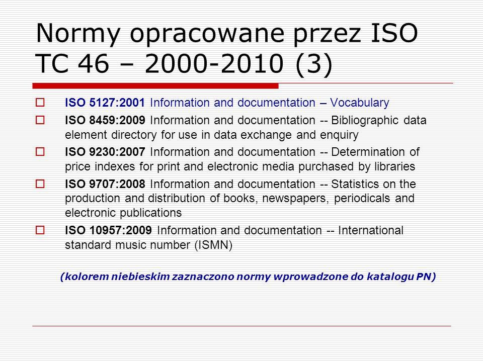 Normy opracowane przez ISO TC 46 – 2000-2010 (3)