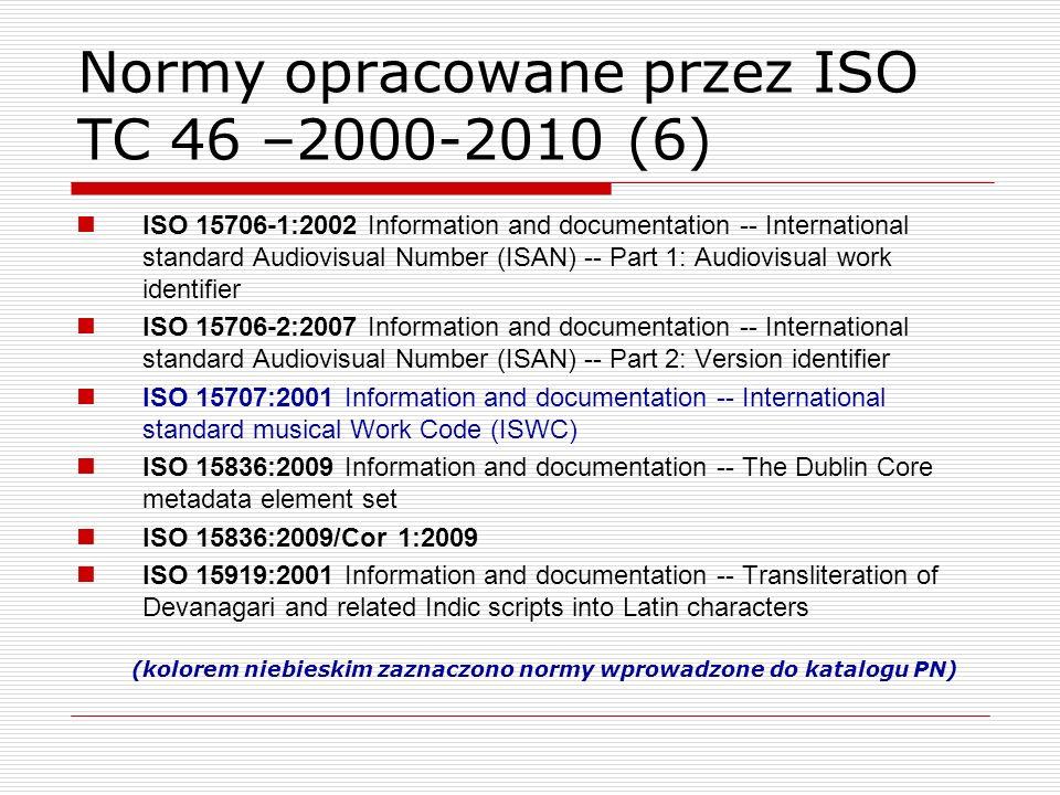 Normy opracowane przez ISO TC 46 –2000-2010 (6)