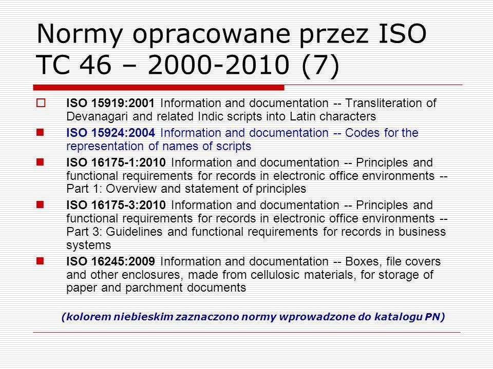 Normy opracowane przez ISO TC 46 – 2000-2010 (7)