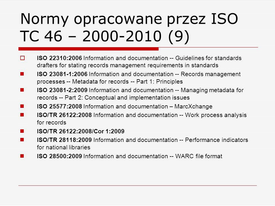 Normy opracowane przez ISO TC 46 – 2000-2010 (9)