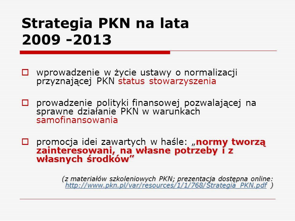 Strategia PKN na lata 2009 -2013wprowadzenie w życie ustawy o normalizacji przyznającej PKN status stowarzyszenia.
