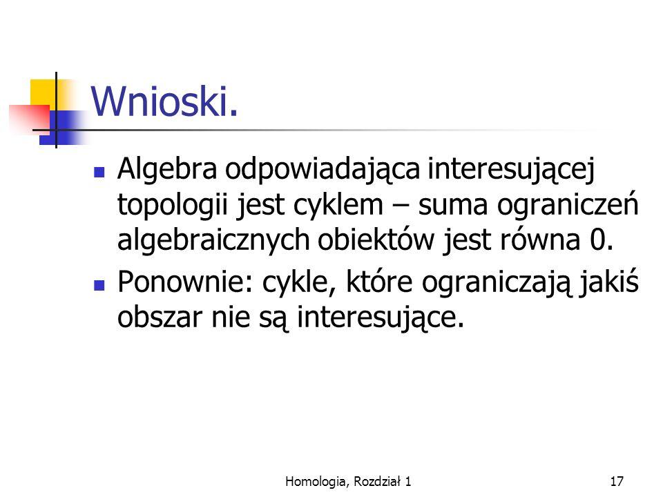 Wnioski. Algebra odpowiadająca interesującej topologii jest cyklem – suma ograniczeń algebraicznych obiektów jest równa 0.
