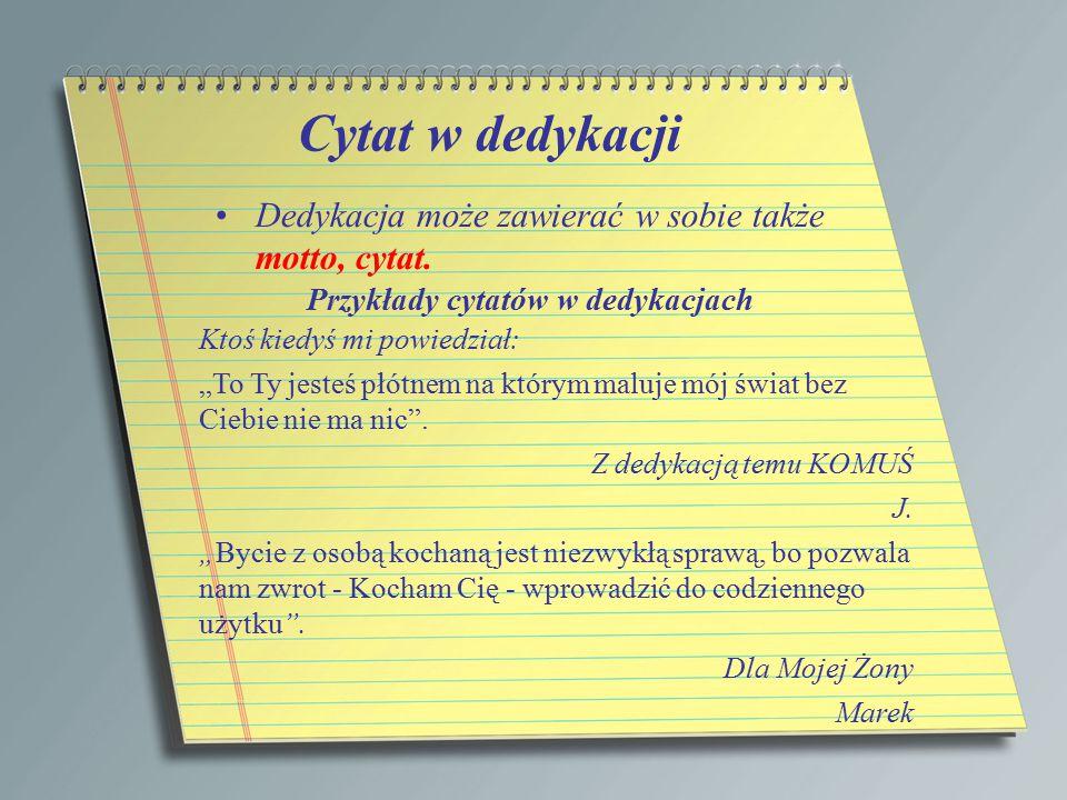 Przykłady cytatów w dedykacjach